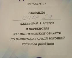диплом юноши до 16 лет